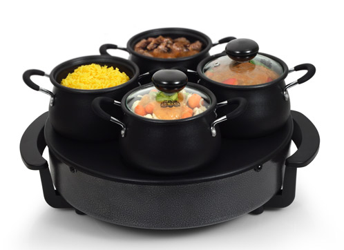 wok set mit 4 pfannen mini wok neu tristar bp 2981 backplatte elektrowok ebay. Black Bedroom Furniture Sets. Home Design Ideas